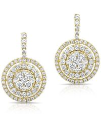 Anne Sisteron - 14kt Yellow Gold Pave Diamond Double Halo Wireback Earrings - Lyst