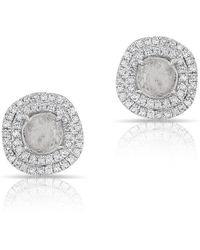 Anne Sisteron - 14kt Rose Gold Diamond Slice Double Halo Stud Earrings - Lyst