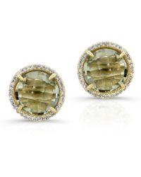 Anne Sisteron - 14kt Yellow Gold Green Amyethyst Diamond Round Stud Earrings - Lyst