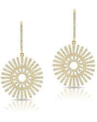 Anne Sisteron - 14kt Yellow Gold Diamond Sun Rays Wireback Earrings - Lyst
