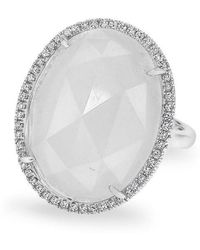 Anne Sisteron - 14kt White Gold Moonstone Diamond Oval Cocktail Ring - Lyst