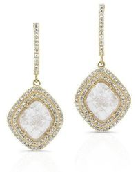 Anne Sisteron - 14kt Yellow Gold Diamond Slice Double Halo Earrings - Lyst