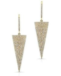 Anne Sisteron - 14kt Yellow Gold Diamond Triangle Drop Earrings - Lyst