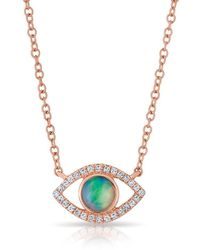 Anne Sisteron - 14kt Rose Gold Diamond Open Opal Evil Eye Sukie Necklace - Lyst