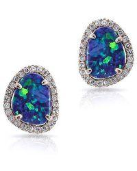 Anne Sisteron - 14kt Rose Gold Small Organic Opal Diamond Stud Earrings - Lyst