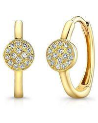 Anne Sisteron - 14kt Yellow Gold Diamond St. Tropez Disc Huggie Earrings - Lyst