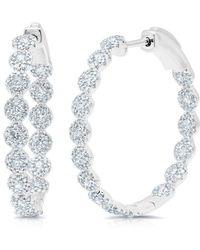 "Anne Sisteron - 14kt White Gold Diamond Ellie 1.15"" Hoops - Lyst"