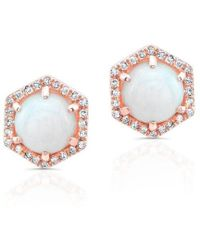Anne Sisteron - 14kt Rose Gold White Opal Diamond Hexagon Stud Earrings - Lyst