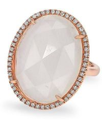 Anne Sisteron - 14kt Rose Gold Moonstone Diamond Oval Cocktail Ring - Lyst