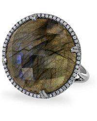 Anne Sisteron - 14kt Oxidized White Gold Labradorite Diamond Round Cocktail Ring - Lyst