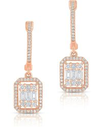 Anne Sisteron - 14kt Rose Gold Baguette Diamond Rectangle Ryleigh Drop Earrings - Lyst