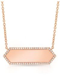 Anne Sisteron - 14kt Rose Gold Diamond Rimmed Bar Necklace - Lyst