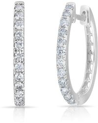 Anne Sisteron - 14kt White Gold Diamond Marie Hoops - Lyst