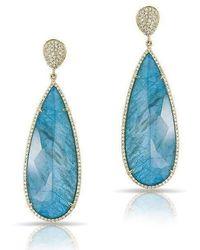 Anne Sisteron - 14kt Yellow Gold Blue Apatite Diamond Drop Earrings - Lyst