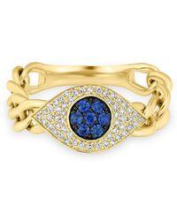 Anne Sisteron - 14kt Yellow Gold Diamond Sapphire Evil Eye Chain Ring - Lyst