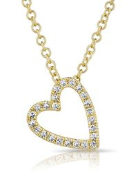 Anne Sisteron - 14kt Yellow Gold Diamond Open Heart Necklace - Lyst