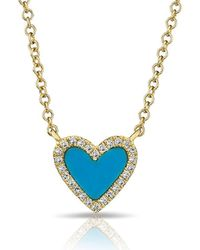 Anne Sisteron - 14kt Yellow Gold Turquoise Diamond Heart Necklace - Lyst