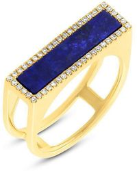 Anne Sisteron - 14kt Yellow Gold Lapis Lazuli Diamond Bar Ring - Lyst
