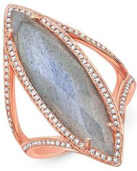 Anne Sisteron - 14kt Rose Gold Mother Of Pearl Diamond Celeste Ring - Lyst