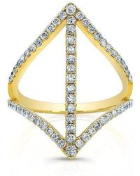 Anne Sisteron - 18kt Yellow Gold Diamond Spear Ring - Lyst