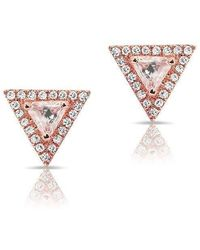 Anne Sisteron - 14kt Rose Gold White Topaz Triangle Diamond Stud Earrings - Lyst