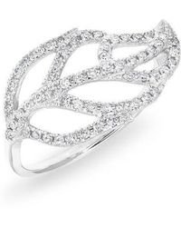 Anne Sisteron | 14kt White Gold Diamond Leaf Ring | Lyst