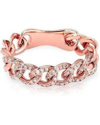 Anne Sisteron - 14kt Rose Gold Diamond Chain Link Light Ring - Lyst