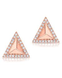 Anne Sisteron - 14kt Rose Gold Diamond Triangle Pyramid Stud Earrings - Lyst