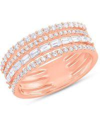 Anne Sisteron - 14kt Rose Gold Diamond Baguette Eternity Ring - Lyst