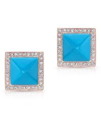Anne Sisteron - 14kt White Gold Turquoise Diamond Pyramid Large Stud Earrings - Lyst
