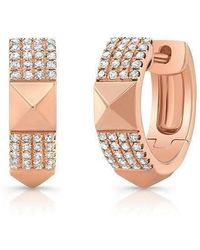 Anne Sisteron - 14kt Rose Gold Diamond Pyramid Huggies - Lyst