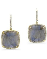 Anne Sisteron - 14kt Yellow Gold Labradorite Diamond Cushion Cut Earrings - Lyst