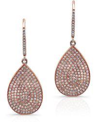 Anne Sisteron - 14kt Rose Gold Diamond Medium Pear Shaped Earrings - Lyst