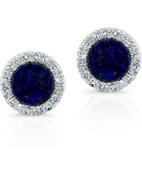Anne Sisteron | 14kt White Gold Lapis Lazuli Diamond Round Stud Earrings | Lyst