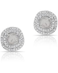Anne Sisteron - 14kt White Gold Diamond Slice Double Halo Stud Earrings - Lyst