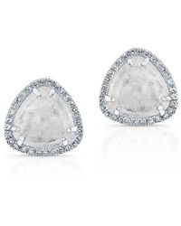 Anne Sisteron - 14kt White Gold Diamond Moonstone Stud Earrings - Lyst