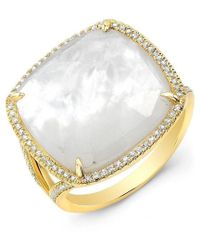 Anne Sisteron - 14kt Yellow Gold Mother Of Pearl Diamond Doublet Ring - Lyst