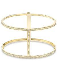 Anne Sisteron | 14kt Rose Gold Diamond Large H Cuff Bracelet | Lyst