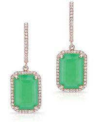 Anne Sisteron - 14kt Rose Gold Rectangle Chrysoprase Diamond Earrings - Lyst
