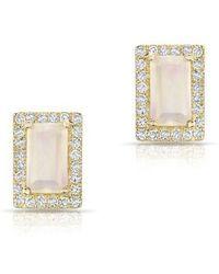 Anne Sisteron - 14kt Yellow Gold Moonstone Diamond Mini Rectangle Stud Earrings - Lyst