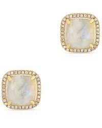 Anne Sisteron - 14kt Yellow Gold Moonstone Diamond Square Stud Earrings - Lyst