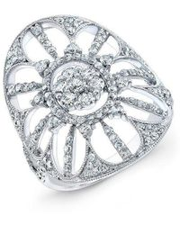 Anne Sisteron - 18kt White Gold Diamond Shield Ring - Lyst
