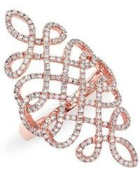 Anne Sisteron | 14kt Rose Gold Diamond Woven Lace Ring | Lyst