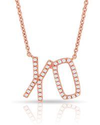 Anne Sisteron - 14kt Rose Gold Diamond Xo Necklace - Lyst