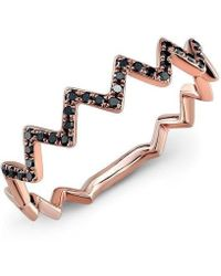 Anne Sisteron - 14kt Rose Gold Black Diamond Zig Zag Stacking Ring - Lyst