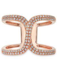 Anne Sisteron - 14kt Rose Gold Diamond Double Horseshoe Ring - Lyst