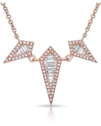Anne Sisteron - 14kt Rose Gold Baguette Diamond Triple Spear Necklace - Lyst