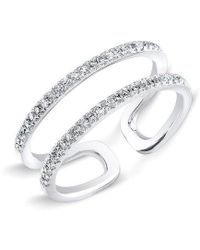 Anne Sisteron | 14kt White Gold Diamond Double Bar Knuckle Ring | Lyst