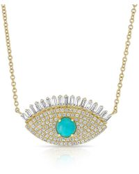 Anne Sisteron - 14kt Yellow Gold Baguette Diamond And Turquoise Gypsy Necklace - Lyst