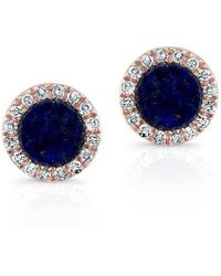 Anne Sisteron - 14kt Rose Gold Lapis Lazuli Diamond Round Stud Earrings - Lyst